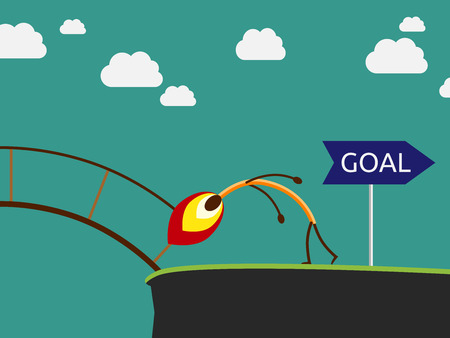 Match character burning bridge on way to goal. Confidence, success and purpose concept, EPS 10 vector illustration, no transparency