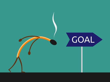 Exhausted burned match character on way to goal. Stress, exhaustion, success and purpose concept. EPS 10 vector illustration, no transparency