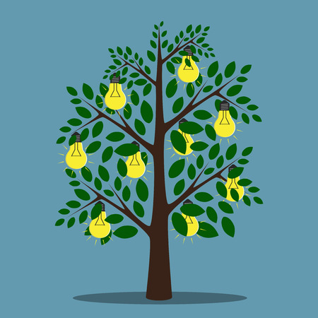 Glowing lightbulbs hanging on tree with green leaves, creativity, insight, inspiration concept,  vector illustration, no transparency Ilustrace