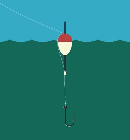 fishhook: Fishing float with fishing line and empty fishhook,  vector illustration, no transparency