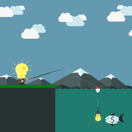 alluring: Lightbulb character fishing and fish with dollar sign looking at bait in form of light bulb. Idea, investment, startup, money concept.  vector illustration, no transparency