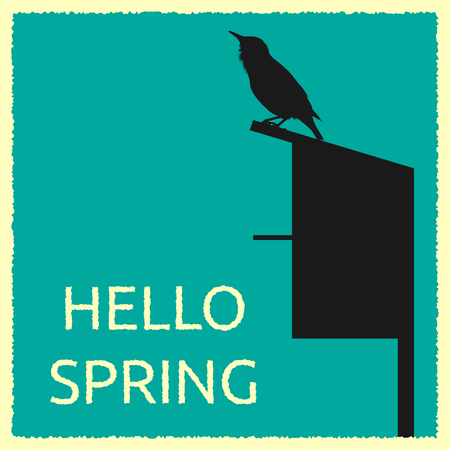 starling: Card with detailed silhouette of common starling or Sturnus vulgaris sitting on roof of its home and text hello spring.