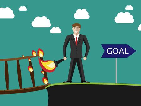 성공적인 젊은 사업가 화재에 그 뒤에 다리를 설정 하 고 그의 목표에가. 성공 목적과 자신감 개념입니다.