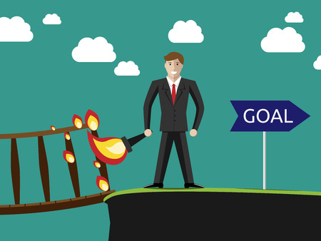 goal setting: Successful young businessman setting the bridge behind him on fire and going to his goal. Success purpose and confidence concept.
