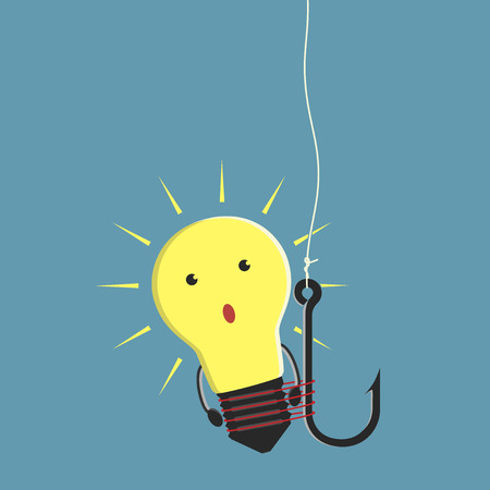 Glowing lightbulb character tied to fishing hook idea startup investment and investor concept. Çizim