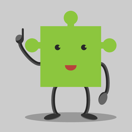 aha: Green puzzle piece character in moment of insight. Solution idea concept. Illustration