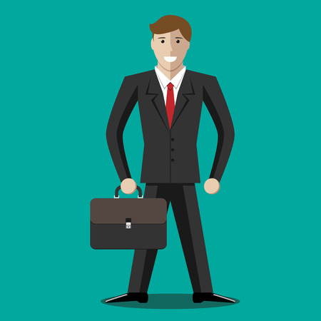 business success concept: Successful handsome young businessman character holding briefcase. Business success concept.