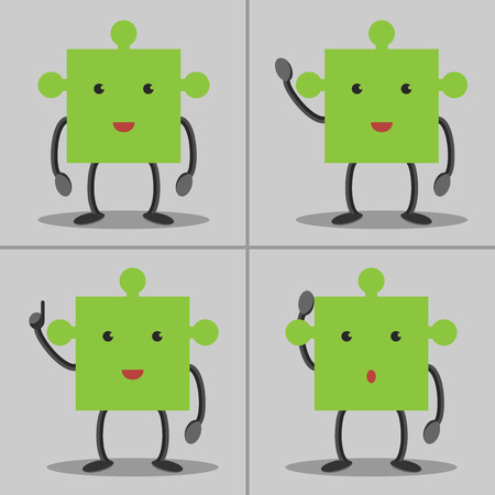 aha: Set of puzzle piece characters: standing waving hand in aha moment and thinking. Solution idea concept. EPS 10 vector no transparency Illustration