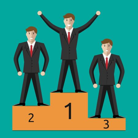 business competition: Businessmen characters on sports victory podium one winner and two losers. Success in business competition concept. EPS 10 vector illustration no transparency