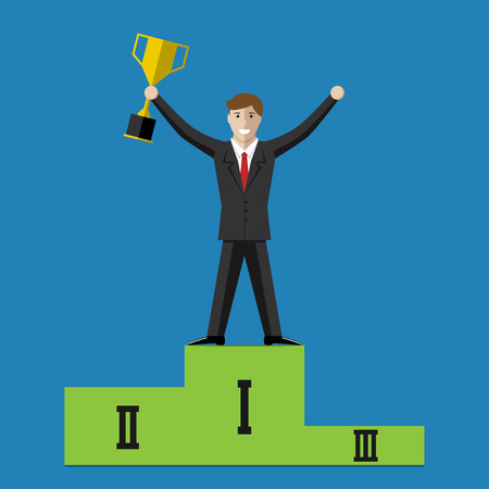 Businessman character holding golden winner cup and standing on sports victory podium. Success in business competition concept. EPS 10 vector illustration no transparency