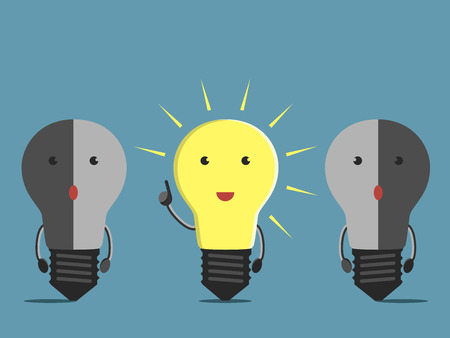 Inspired glowing light bulb character in moment of insight and two confused dull ones. EPS 10 vector illustration no transparency Vettoriali