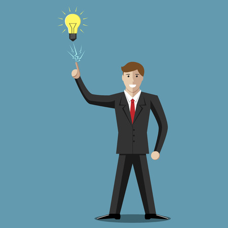 Young businessman character in moment of insight. Inspiration, creativity, success concept. EPS 10 vector illustration, no transparency