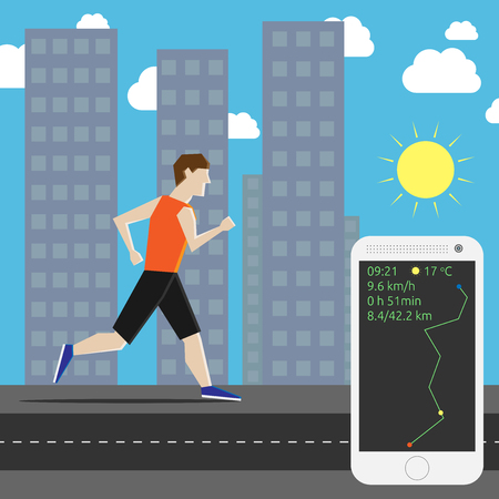 own: Man running his own personal marathon in the city and smartphone showing time, air temperature, speed and distance. EPS 10 vector illustration, no transparency
