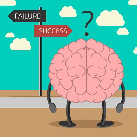 Brain karakter kiezen zijn weg tussen falen en succes. Succes bewustzijn, positief denken, geloof, zelf-suggestie concept. EPS 10 vector illustratie, geen transparantie