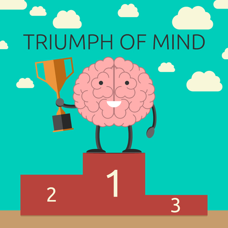 Brain character with winner cup on sports victory podium. Strong mind, success, rational thinking, will power concept. EPS 10 vector illustration, no transparency Çizim