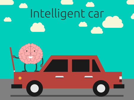 Intelligente auto concept. Brain karakter coming out motorkap auto. EPS 10 vector illustratie, geen transparantie Stock Illustratie
