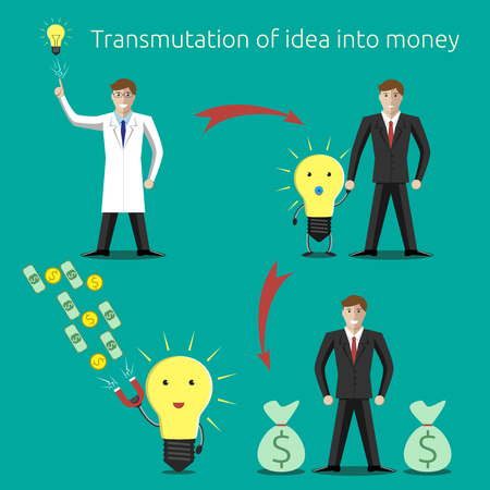 transmutation: Transmutation of idea into money concept. Creativity, innovation, business, success, money, investments, wealth concept. EPS 10 vector illustration, no transparency