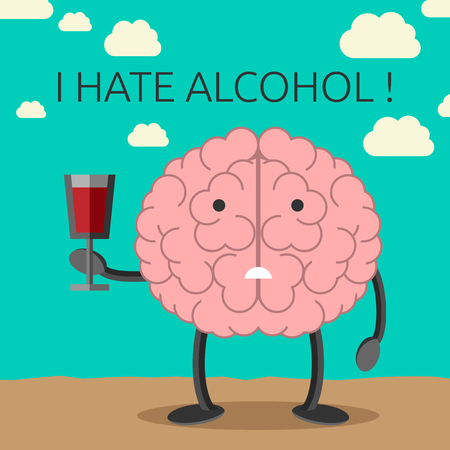 unhealthy thoughts: Sad brain character not willing to drink wine. Healthy lifestyle concept. EPS 10 vector illustration, no transparency