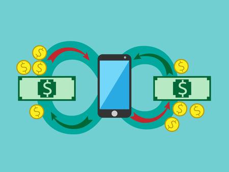 circulating: Money circulating through smart phone.  Illustration