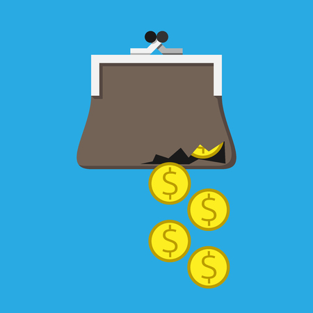 pobreza: Dinero que cae a través del agujero en la bolsa rota.