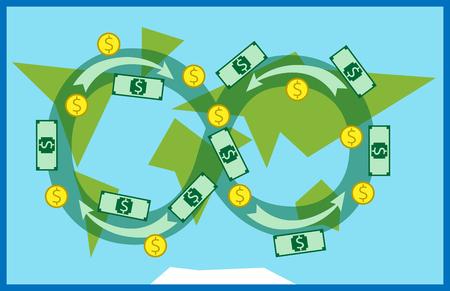 circulating: Money circulating all over the world.  Illustration