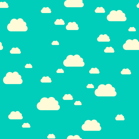 Seamless pattern of sunlit clouds on turquoise blue sky. Stock Illustratie