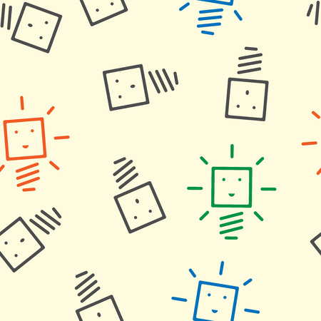 dull: Seamless pattern of cute glowing and dull light bulb characters of various colors. Creativity innovation technology insight inspiration success concept. Illustration