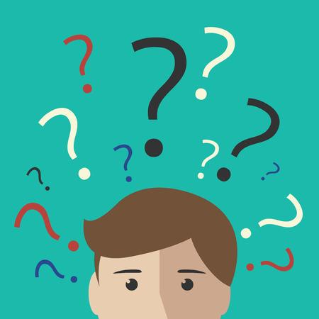 signo de interrogación: Muchos signos de interrogación multicolor por encima de la cabeza de un joven o un niño. Tomar la decisión de pensar incertidumbre concepto de aprendizaje. EPS 10 ilustración vectorial sin transparencia