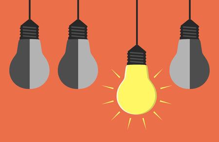 Glowing yellow light bulb hanging among three gray dull ones. EPS 10 vector illustration no transparency Ilustração