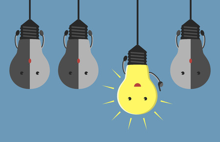 Inspired glowing light bulb character in aha moment hanging among three gray dull ones. EPS 10 vector illustration no transparency