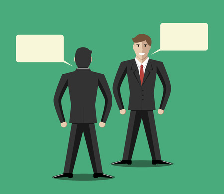 discussion: Young businessmen communicating. Copy space in speech bubbles. Business partnership collaboration discussion conversation concept. EPS 10 vector illustration no transparency