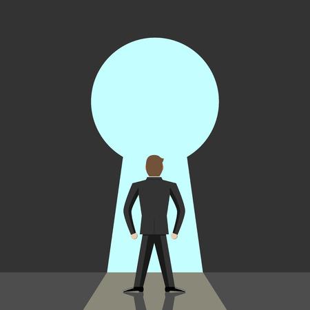 큰 열쇠 구멍과 푸른 하늘에가는 사람입니다. 열린 마음 큰 꿈, 자유, 희망, 믿음, 솔루션 용기 목적 개념입니다. 투명도 EPS 10 벡터 일러스트 레이 션