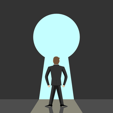 Man going to big keyhole and blue sky. Open mind great dreams freedom hope faith solution courage purpose concept. EPS 10 vector illustration no transparency Vettoriali