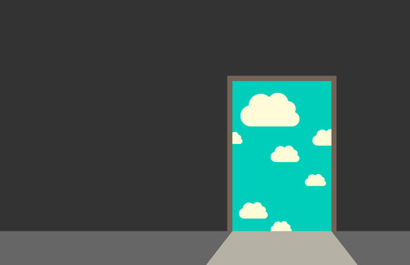 Door leading from dark gray room to blue sky with clouds and bright daylight. Great dreams freedom hope faith real life beginning concept. EPS 10 vector illustration no transparency Stock Illustratie