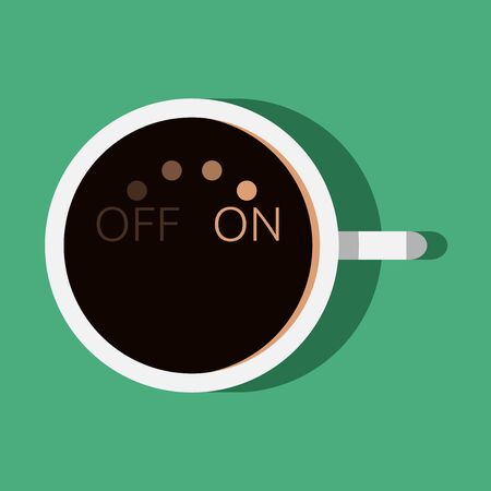 beginning: Cup of coffee with turn on and off switch. Morning, beginning of day, coffee break concept.