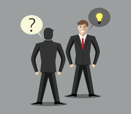 Man with question or problem and man with answer, solution or creative idea. Consulting, problem, question, solution, idea concept. Vector