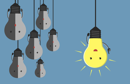 inspiration: Inspired glowing light bulb character in moment of insight hanging beside many gray dull ones. Innovation, motivation, insight, inspiration concept.