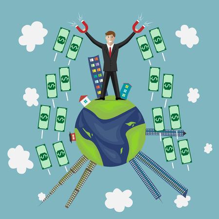 big business: Personaje de negocios joven con imanes atrayendo a un mont�n de dinero de todo el mundo. Las grandes riquezas negocios inversiones concepto del �xito riqueza monetaria. EPS 10 ilustraci�n vectorial sin transparencia Vectores