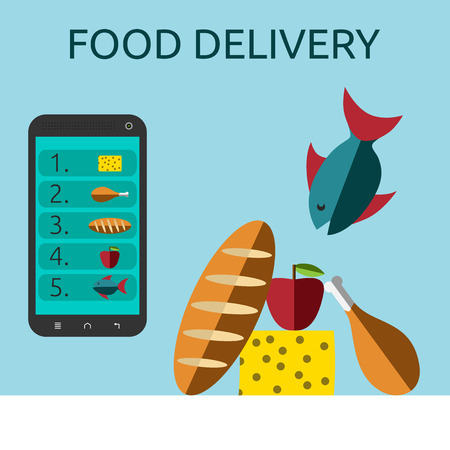 via: Food ordered online via smart phone to table with white tablecloth. Food delivery, selling or buying via internet concept.