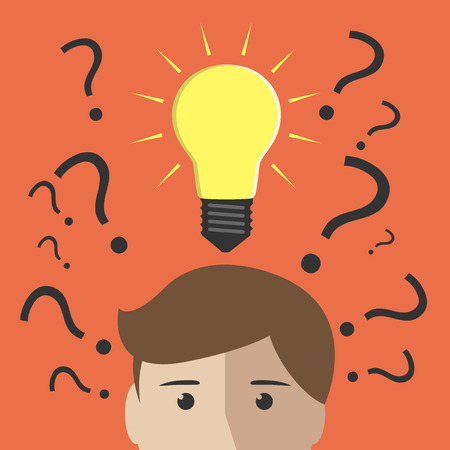 aha: Question marks and one glowing light bulb above head of young man or boy. Insight, inspiration, eureka, aha moment, making decision, thinking concept. EPS 10 vector illustration, no transparency