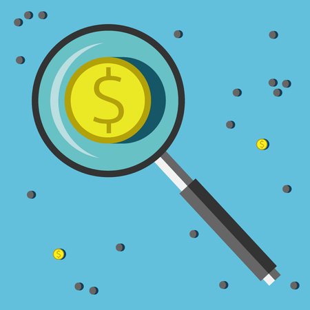 Dollar coin under magnifying glass and many small stones. Search of money, wealth, riches, finance, success concept.