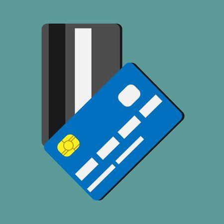 두 신용 카드. 돈, 지출, 재산, 재물, 금융 개념.