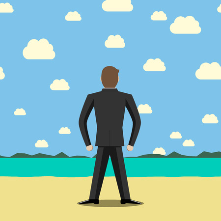 Businessman standing on beach and looking far away. Holiday, rest, recreation, dream, freedom, faith, courage, goal concept.