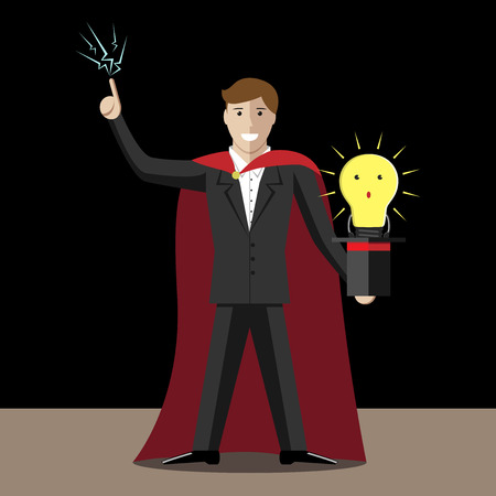 hand job: Magician and top hat with light bulb character. Idea success creativity presentation trick lie deception fraud cheating magic illusion. EPS 10 vector illustration no transparency Illustration