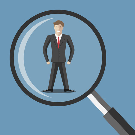 Young man under magnifying glass. Choice selection hiring analysis interview employee job staff recruitment concept. EPS 10 vector illustration transparency used