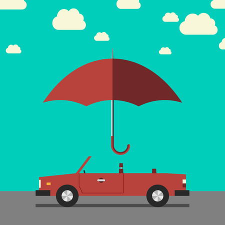 Empty red retro cabriolet on road under umbrella side view. Car insurance protection safety concept. EPS 10 vector illustration no transparency
