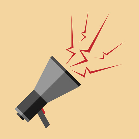 loudhailer: Gray megaphone with red sparks or lightnings. Promotion marketing business advertisement media concept. EPS 10 vector illustration no transparency Illustration