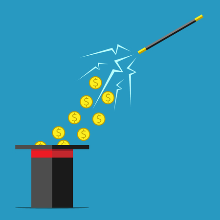 fast money: Magic wand with sparks attracting money from top hat. Success wealth trick lie deception fraud cheating magic fast money concept. EPS 10 vector illustration no transparency