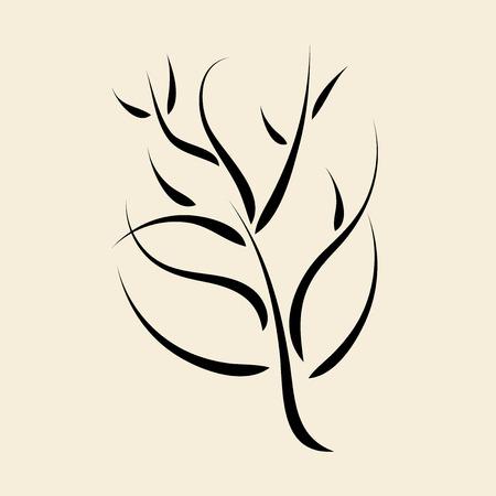 laconic: Laconic dynamic calligraphic black tree or bush. EPS 10 vector illustration no transparency