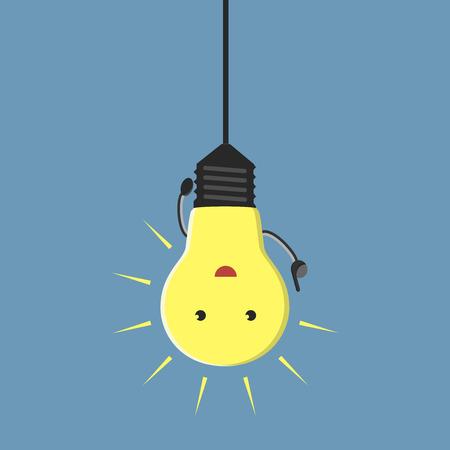 Inspiré caractère ampoule suspendue aha moment, EPS 10 illustration vectorielle aucune transparence